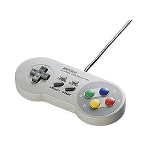 【新モデル】iBUFFALO USBゲームパッド 8ボタン スーパーファミコン風 グレー BSGP815GY
