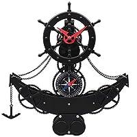 海賊船の舵掛け時計クォーツムーブメント寝室リビングルーム人格装飾ギアの組み合わせクリエイティブウォールクロック