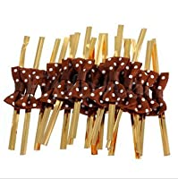 (Brown) - Funcoo 100 pcs Lovely Cute Bow Twist Tie for Bakery Candy Lollipop Cello Bag (Brown)