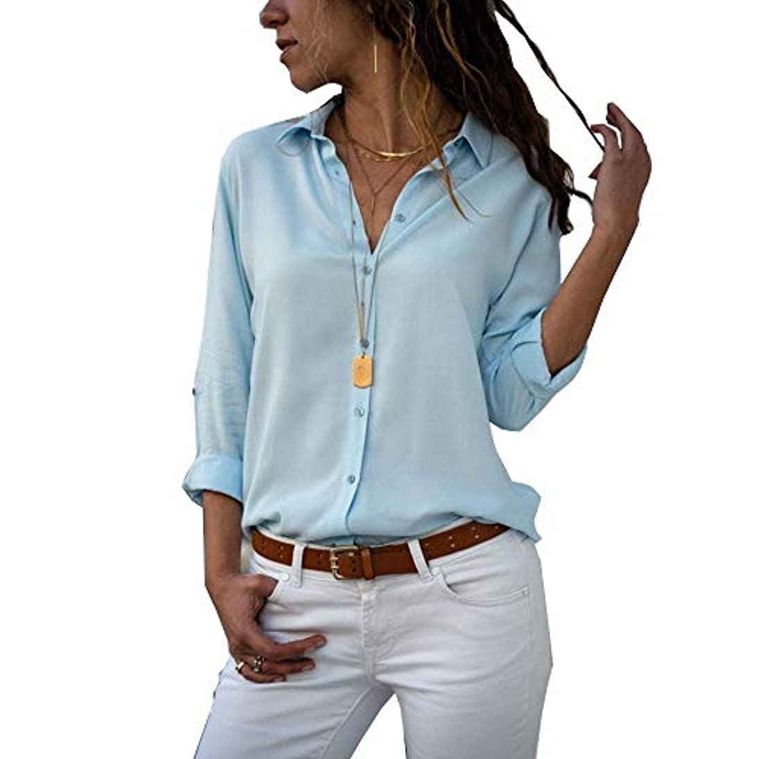 セメントセメント強化MIFAN ルーズシャツ、トップス&Tシャツ、プラスサイズ、トップス&ブラウス、シフォンブラウス、女性トップス、シフォンシャツ