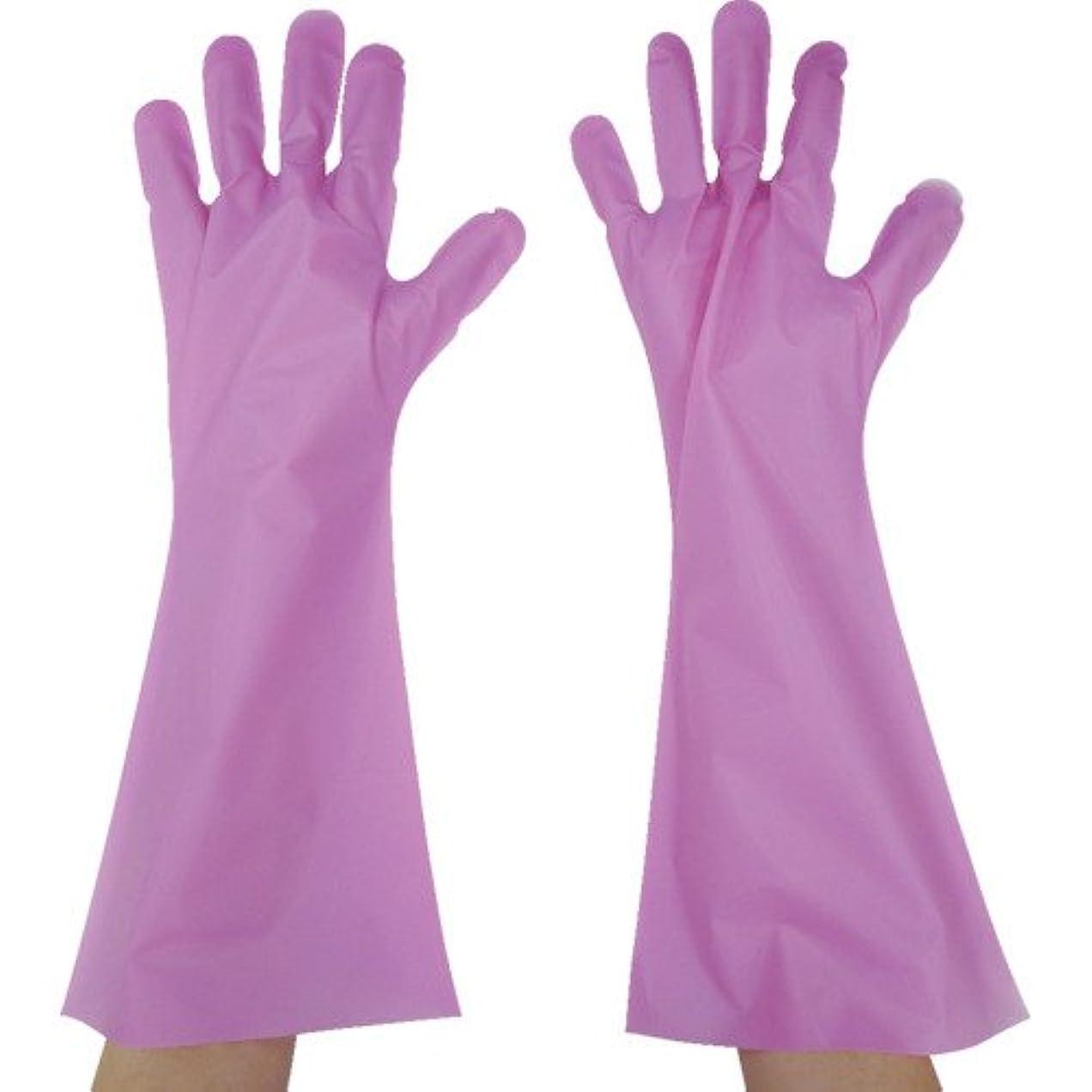 見物人放つ服を洗う東京パック エンボス手袋ロング五本絞り ピンク S PL45S