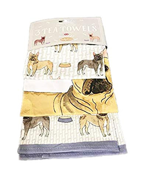 Molly Green Debonair Dogs フレンチブルドッグ 3枚セット ティータオル