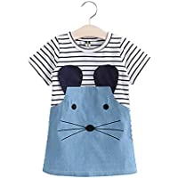 HEA GH Cute Mouse Face Baby Girls Summer Cotton Short Sleeve Striped Casual Denim Dress for 2-14 Years