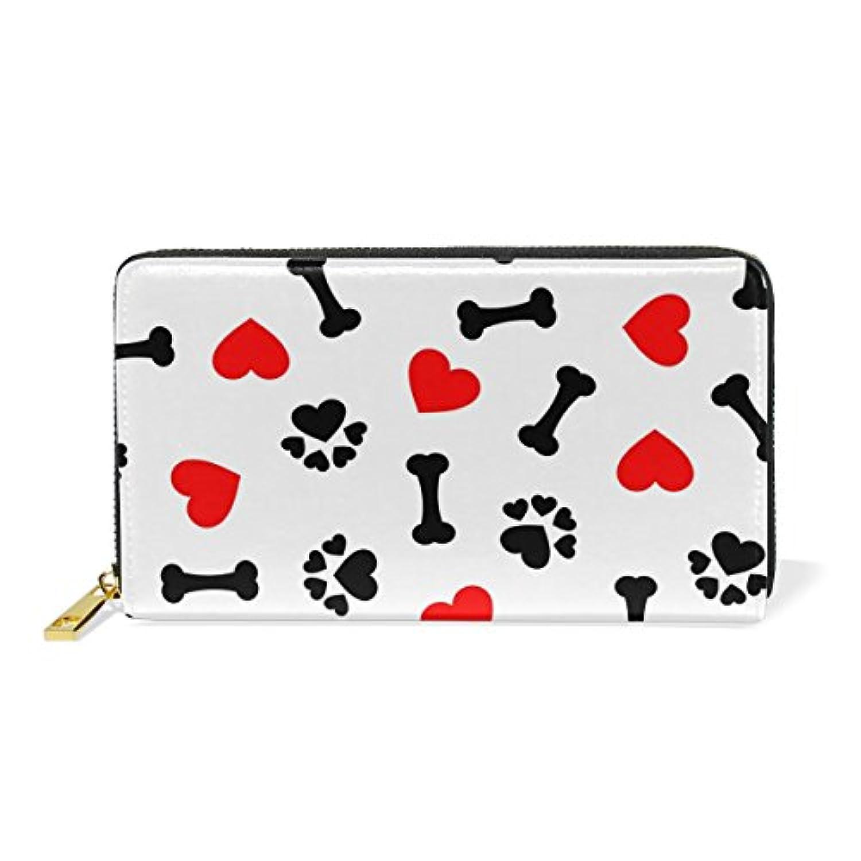 財布 レディース 長財布 大容量 かわいい 心柄 骨柄 爪柄 可愛い 幾何学模様 ファスナー財布 ウォレット 薄型 本革 型押し 小銭入れ プレゼント用