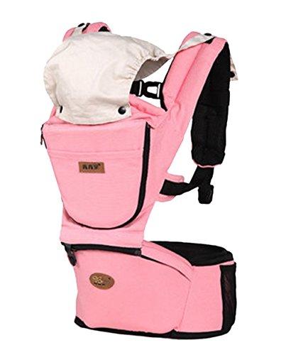 BH JP 抱っこひも ベビーキャリア スリーピングフード付き シーズンカバーとヒップシート取り外せる 通気性 春夏秋冬適用 3ヶ月から36まで ピンク