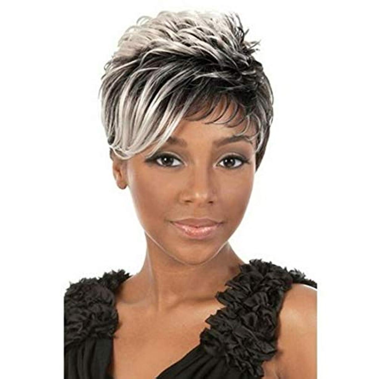 やるエンドウ手綱Kerwinner 黒と白の短いストレートヘア斜めの女性のための前髪