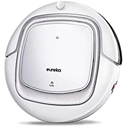 Eureka i300 Robot Vacuum Cleaner, Powerful Suction, Anti-Drop&Collision Sensor, Self-Charging, Cleaning Schedule with Remote Control, Works for Hard Floor and Thin Carpet, Quiet, Tangle-Free, Pet Hair