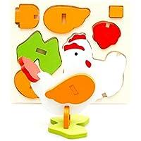 幼児期のゲーム 創造的な木製の3D動物のパズルアーリーラーニング番号の形の色の動物のおもちゃ子供のための素晴らしいギフト(巨根)
