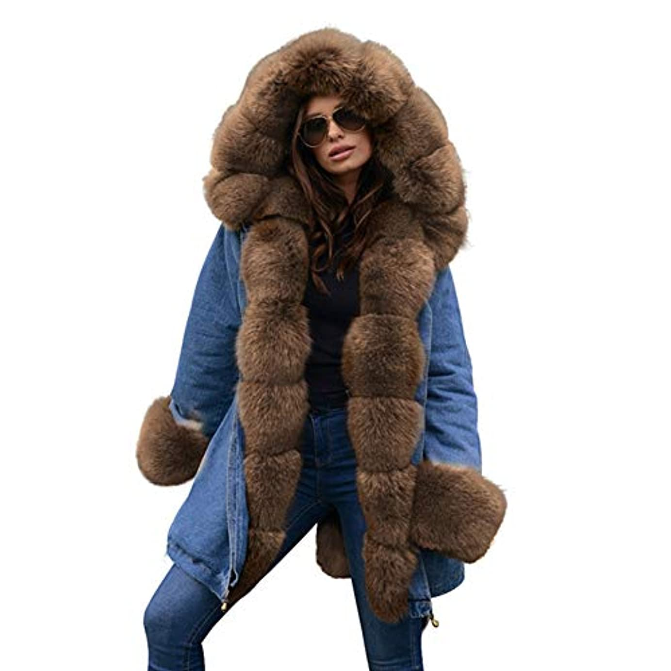 リングバック配分持続的厚手フード付きジャケット女性ウィンターフェイクファーカラーコートコットンパットオーバーコートロングコートパーカスパーカ,S