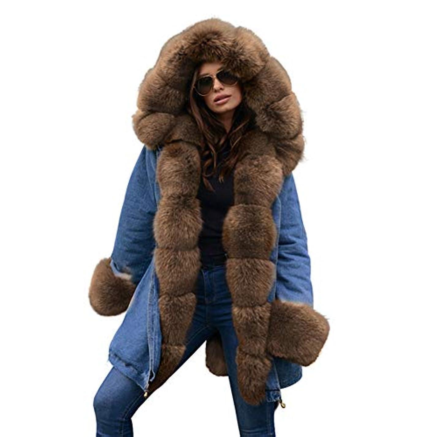 午後専ら三厚手フード付きジャケット女性ウィンターフェイクファーカラーコートコットンパットオーバーコートロングコートパーカスパーカ,S