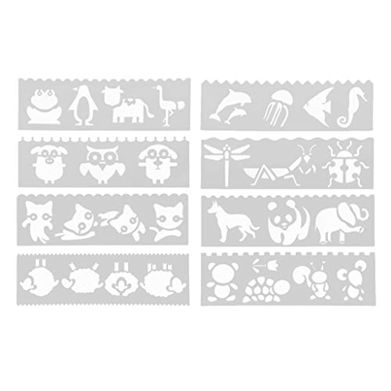哀ラブリブ8セット ステンシルシート テンプレート 描画テンプレート ジャーナルテンプレート 工芸品 2種選ぶ - 漫画動物