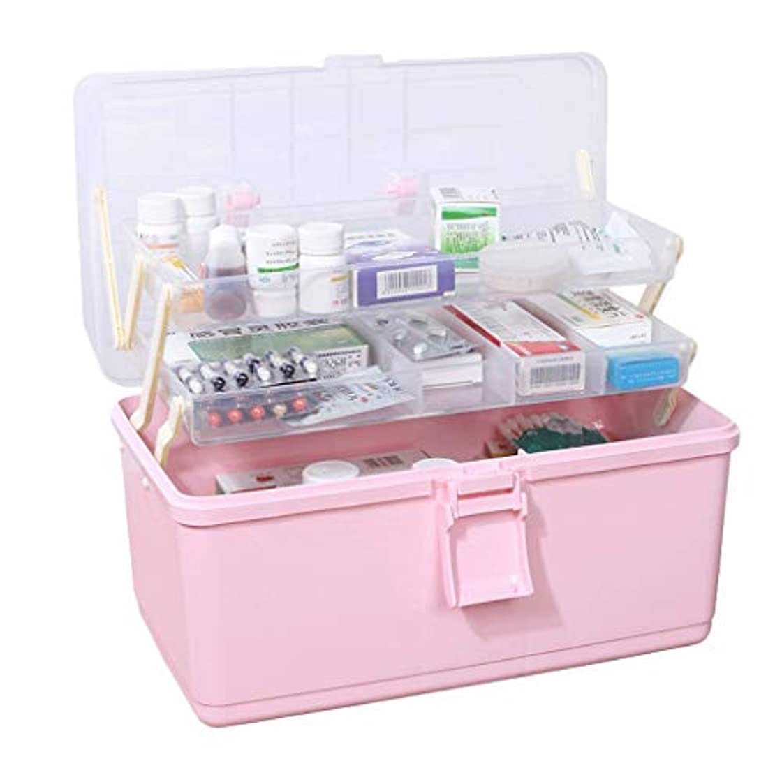 ムスタチオタイトルファシズムピルボックスPP 34 * 19 * 22.5 cm家庭用薬ボックス薬収納ボックス (色 : ピンク)