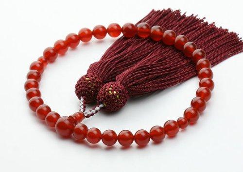 赤メノウ 8mm◆商品ポーチ付(2色選べる)◆ 略式 数珠 女性用 片手念珠 jz