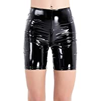 iiniim Black Women's Wet Look PVC Leather Pants Boxer Shorts With Zipper Crotch