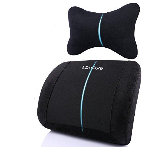 MiroPure アーチ型 ランバーサポート 低反発 クッション ネックサポート付属 背もたれ 腰痛対策 骨盤矯正 猫背 車内/オフィス/椅子/長時間のデスクワークに最適 腰まくら 【24月保証期間】