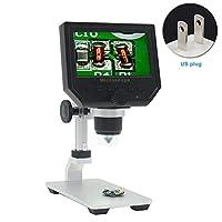4.3インチ LCDデジタルUSB顕微鏡拡大鏡 調節可能なスタンド付き 1-600倍連続拡大ズーム 8つのLED調整可能な光源、充電式リチウムバッテリー、カメラビデオレコーダー