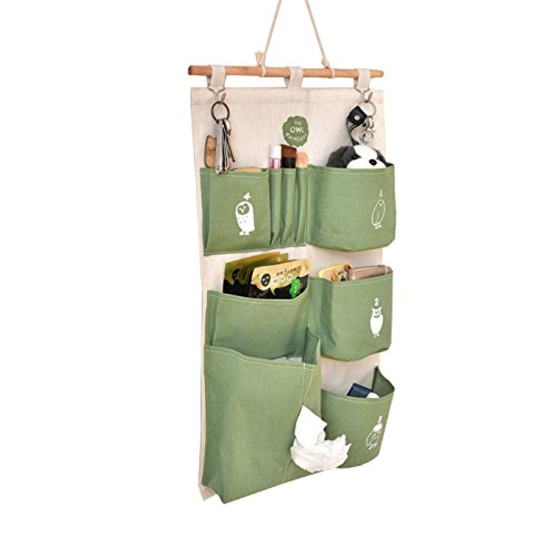 amyove多層Hangingストレージバッグ家庭用コットン+リネン防水バッグ田園スタイルホーム装飾 グリーン XJSJHM-1212-JXLW17