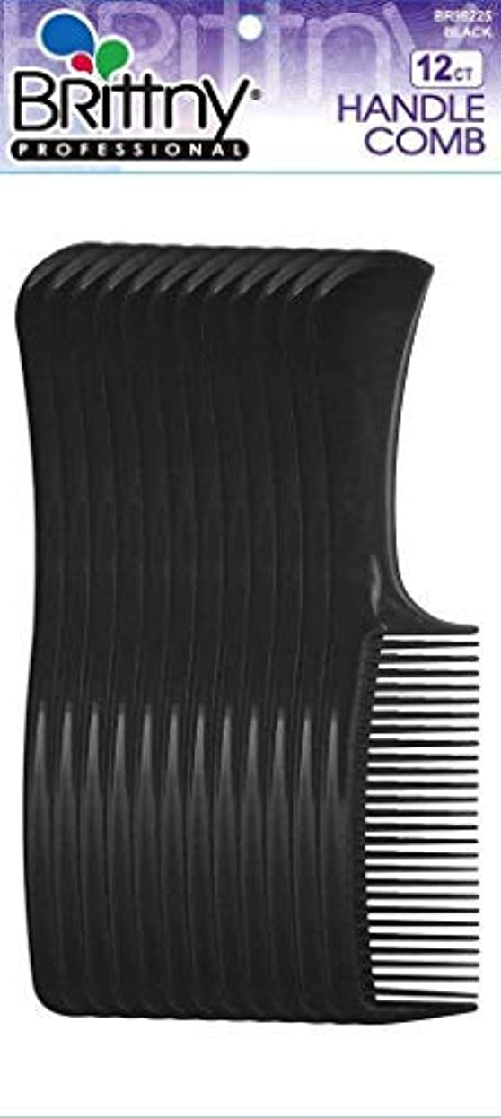 Brittny Bulk Handle Combs - Black 12-Count (Pack of 6) [並行輸入品]