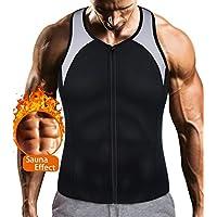 LODAY Mens Sauna Waist Trainer Corset Vest with Zipper for Weight Loss Hot Sweat Neoprene Body Shaper Gym Workout Tank Top