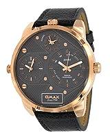 Omax TT01R991 メンズ ローズゴールドトーン XL ビッグサイズ 3 タイムゾーン グレーレザーバンド グレーダイヤル 腕時計