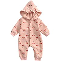 ACVIP Baby Girl's Cherry Prints Hooded Button End Onesie Bodysuit (Pink,6-12M)