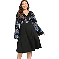Milumia Plus Size Wrap V Neck Floral Print Shift Dress Long Sleeves Party Midi Dress