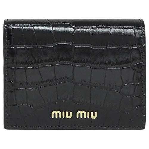 [ミュウミュウ] 二つ折 財布 クロコダイルプリント レザー 5MV204_2B8G_F0002 ST.COCCO NERO ブラック レディース ミニ スモール [並行輸入品]