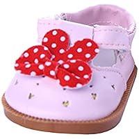 ノーブランド品  1ペア ちょう結び シューズ 靴 18インチ アメリカンガールドール用 3色選べる - ピンク