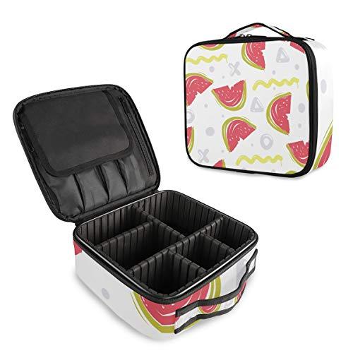 (VAWA) メイクボックス 大容量 プロ用 かわいい ファッション 幾何学模様 スイカ柄 化粧箱 機能的 コスメ収納 ブラシバッグ 調整可能 旅行出張用