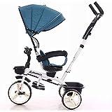 トライクキッズ子供幼児三輪車、ハンドル付き雨カバーに乗る3車輪親ハンドルバーキャノピー折りたたみ式フットペダル多機能