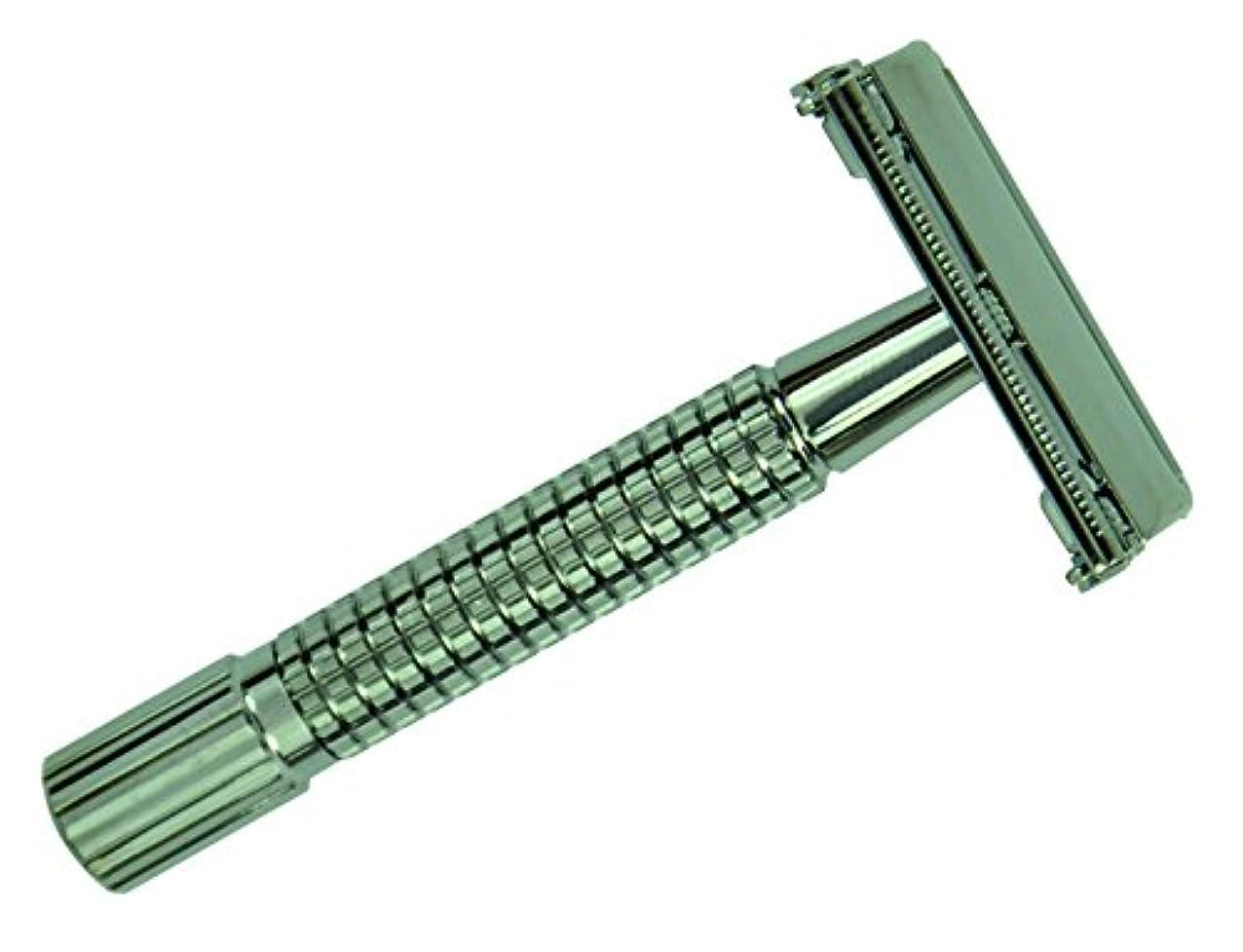 信頼性気まぐれな打ち負かすGOLDDACHS double blade razor, titanium, ribbed grip,