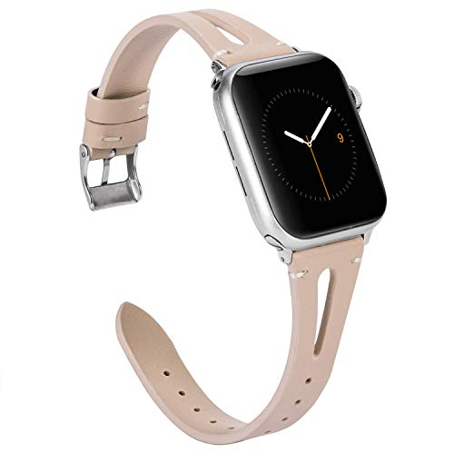 Apple Watch バンド/Apple Watch4バンド,Wearlizer アップルウォッチ iwatch,apple watch series 4/3/2/1対応 apple watch 4 レザー バンド iwatch 本革 バンド (38mm 40mm, ベージュ)