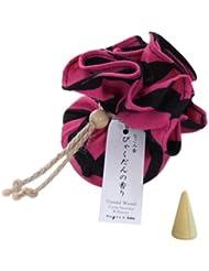 なごみ香 手拭巾着包 お香(コーンインセンス) びゃくだんの香り nugoo×kou 斜め縞(ピンク)