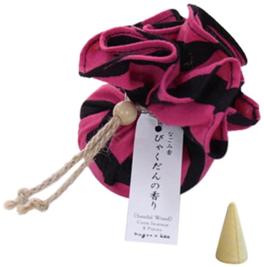 販売計画に対応ティームなごみ香 手拭巾着包 お香(コーンインセンス) びゃくだんの香り nugoo×kou 斜め縞(ピンク)