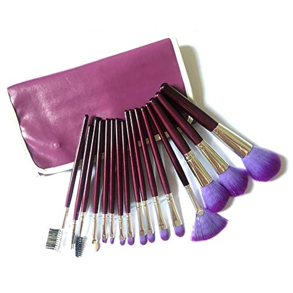 デッキ子猫ライオンMEI1JIA QUELLIA 16 PCSウール髪の木製ハンドルレザーバッグ(パープル)とブラシ化粧品セット (色 : 紫の)