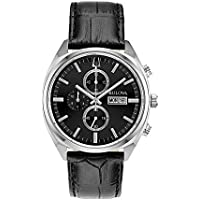 Bulova Men's Quartz Watch Leather Strap analog Display and Leather Strap, 96C133