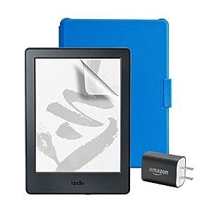 スターターセット (Amazon純正 Kindle用保護カバー ブルー + 保護フィルム + Amazon 5W USB 充電器 )