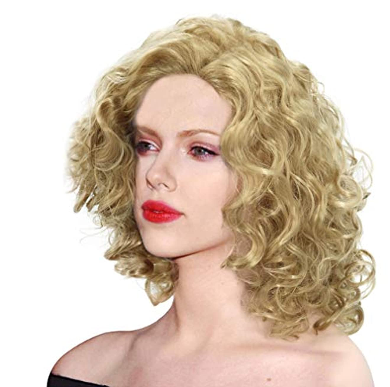 禁止する光電固体女性かつら人工毛ウィッグ波状わずかに赤ん坊の毛150%密度に適したハロウィーンコスプレゴールド42 cm