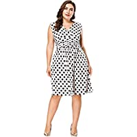 Leezeshaw Womens Casual Plus Size Oversize V Neck High Waist Slim Dot Printed A-Line Big Hem Dress for Party