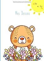 Mes Dessins: A4 - 100 pages de papier vierge - Carnet à dessin/Journal d'artiste / Journal créatif / Bloc à dessin / Bloc-notes / Ours mignon et fleurs