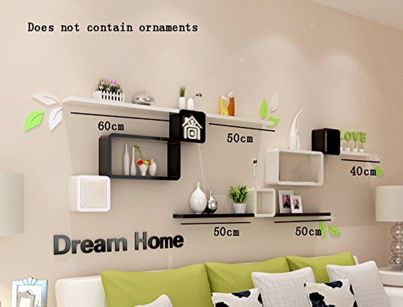 ALUP- ファッションクリエイティブウッドベースのパネルフラワーラック/本棚/壁棚/フローティングシェルフ、テレビの背景壁の装飾フレームリビングルーム壁掛けの装飾 ( 色 : #2 )