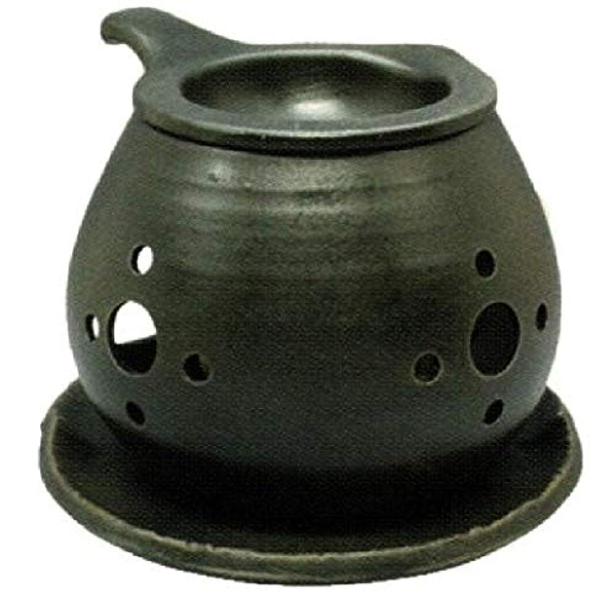 モーター霧深い幾分常滑焼 ?40-03 茶香炉間宮窯  皿付    径14×10