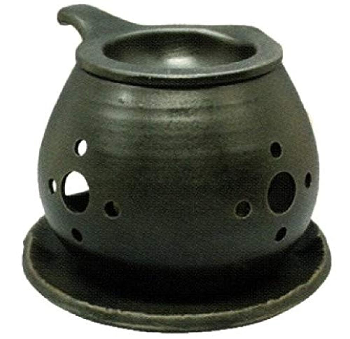 傘インド水っぽい常滑焼 ?40-03 茶香炉間宮窯  皿付    径14×10