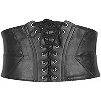 BlackButterfly Wide Corset Waspie Elastic Waist Faux Leather Belt