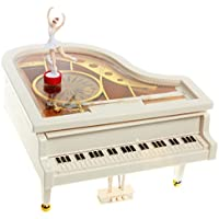 KUKUYA(ククヤ) 母の日 プレゼント オルゴール ピアノ型オルゴール バレリーナが踊る ギフト かわいい おしゃれ 音楽ボックス インテリア ホワイト