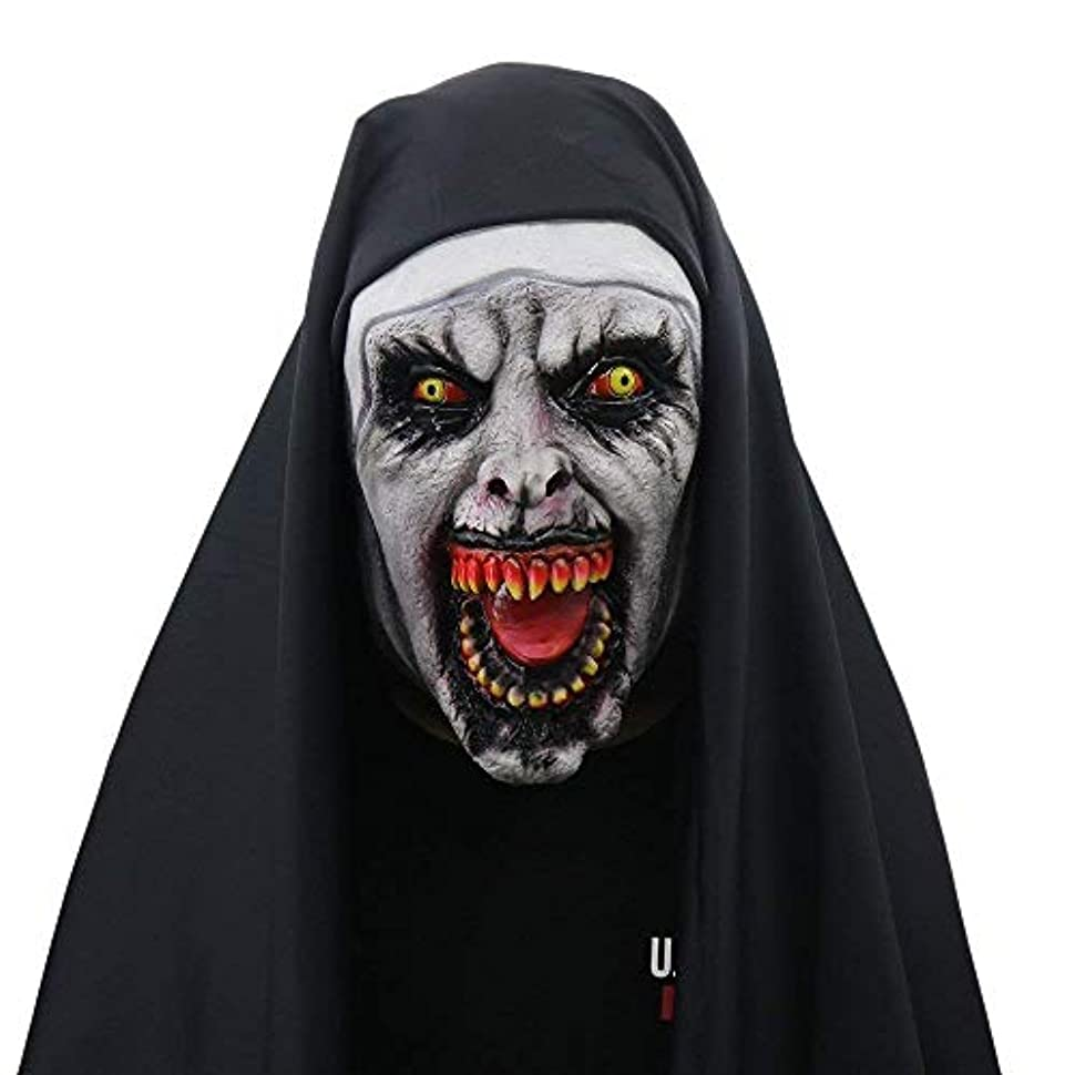 エレメンタル比較的もハロウィン修道女マスク、ホラー怖い女性ゴースト整頓パーティー用品ゾンビマスク27 * 28 cm (Color : A)