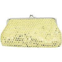 Women Bling-Bling Coin Pouch Cell Phone Purse Sequin Glittery Kiss-Lock Buckle Clutch Purse Wallet Handbag