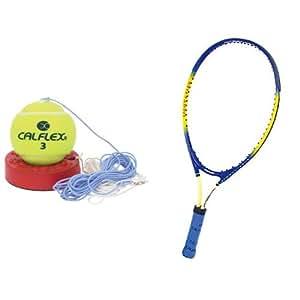 【おすすめセット】CALFLEX 硬式テニストレーナー 1個 + CALFLEX  硬式KIDS用 テニスラケット BL 1個