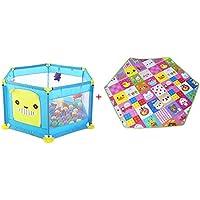 BSNOWF-ベビーサークル 赤ちゃんPlaypensクーミングマット、6パネルFoldableホーム屋内プレイヤード、子供の遊びペン (色 : 青)
