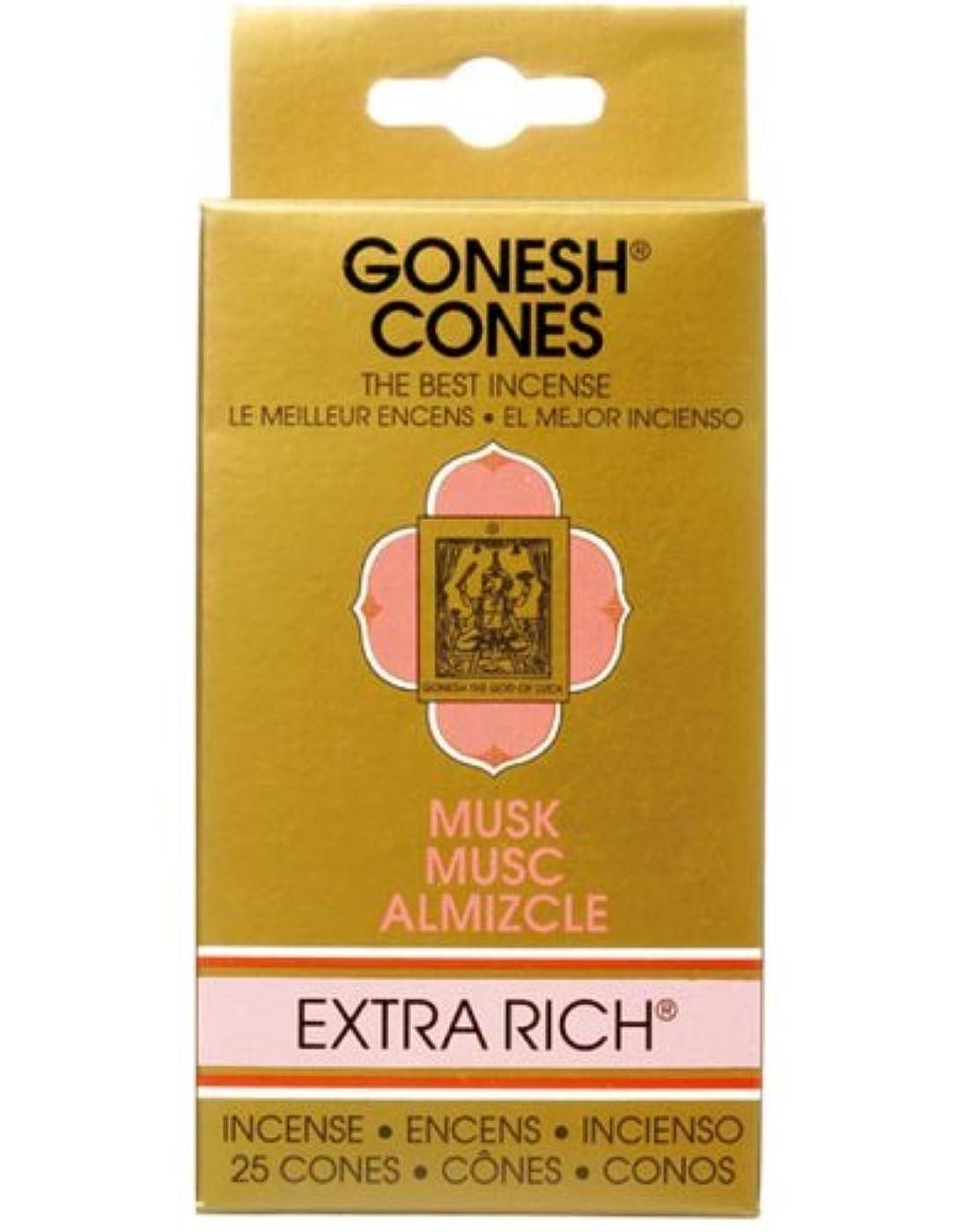 散るモードリン額ガーネッシュ(GONESH) エクストラリッチ インセンス コーン ムスク 25個入(お香)